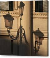 Shadow Of A Lamp Post In Venice Canvas Print