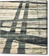 Shadows On A Wooden Board Bridge Canvas Print