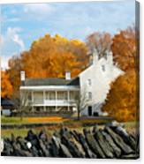 Shaker House And Stone Fence Canvas Print