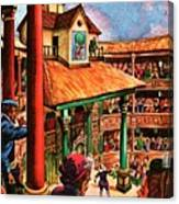 Shakespeare Performing At The Globe Theater Canvas Print
