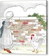 Shara And The Rooster Canvas Print