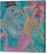 Shark And The Mermaid  Canvas Print