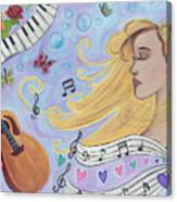 She Dreams In Music Canvas Print