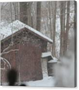 Shed Thru Glass And Snow Canvas Print