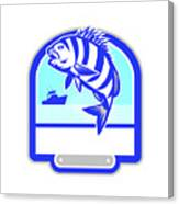 Sheepshead Fish Jumping Fishing Boat Crest Retro Canvas Print