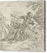 Shepherd Holding A Flute And Two Other Figures In A Landscape Canvas Print