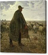 Shepherd Tending His Flock Canvas Print
