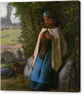 Shepherdess Seated On A Rock Canvas Print