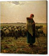 Shepherdess With Her Flock Canvas Print