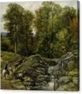 Shepherds Next To A Brook By Thomas Creswick Canvas Print
