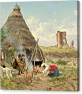 Shepherds Resting In The Roman Campagna Canvas Print