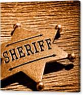 Sheriff Badge - Sepia Canvas Print