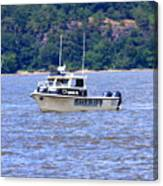 Sheriff Boat On The Hudson Canvas Print