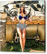 Sherman Tank Pin-up Canvas Print
