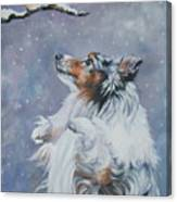 Shetland Sheepdog With Chickadee Canvas Print