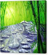 Shinto Lantern In Bamboo Forest Canvas Print
