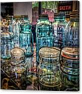 Shiny Glass Jars Canvas Print
