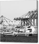 Ship Container Cranes Blk Wht Canvas Print