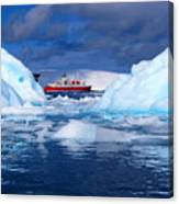 Ship In Between Icebergs Canvas Print