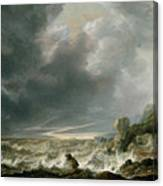Ship In Distress Off A Rocky Coast Canvas Print