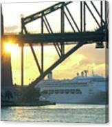 Ship Under Sydney Harbour Bridge Canvas Print