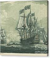 Shipping Scene With Man-of-war Canvas Print