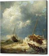 Ships In A Storm On The Dutch Coast Canvas Print