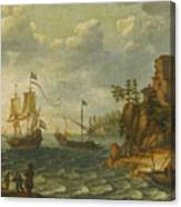 Ships Moored Off A Rocky Coastline With Fishermen Unloading Their Catch Canvas Print