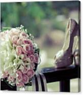 Shoes And Wedding Bouquet Canvas Print