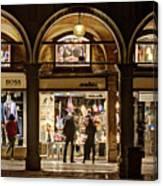 Shop Windows At Night On Piazza San Marco - Venice Canvas Print
