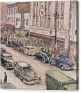 Shopping On Elm St. 1949 Canvas Print
