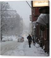 Shoveling Snow Canvas Print