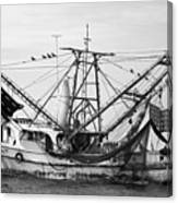 Shrimp Boat In Black And White Canvas Print