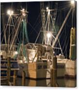 Shrimpboats And Night Canvas Print