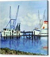 Shrimpboats At Dock Canvas Print