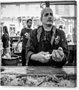 Shucking Oysters 2 - French Quarter- Bw Canvas Print