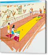Retro Shuffleboard Art From The 1960's Canvas Print