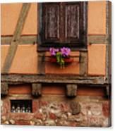 Shutters And Window Box In Kaysersberg Canvas Print