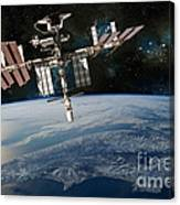 Shuttle Docked At Space Station Canvas Print