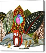 Shy Fox With Balloons  Canvas Print