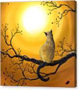 Siamese Cat In Autumn Glow Canvas Print