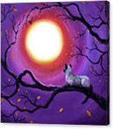 Siamese Cat In Purple Moonlight Canvas Print