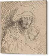 Sick Woman With A Large White Headdress (saskia) Canvas Print