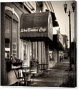 Sidewalk At Shoebooties Cafe In Black And White Canvas Print