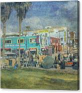 Sidewalk Cafe Venice Ca Panorama  Canvas Print
