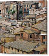 Siena Colored Roofs And Walls In Aerial View Canvas Print