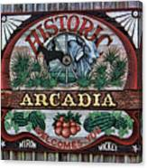 Sign - Welcome To Arcadia Canvas Print