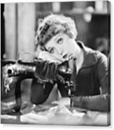 Silent Film Still: Sewing Canvas Print