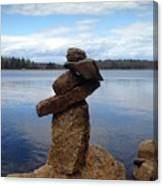 Silent Watch - Inukshuk On Boulder At Long Lake Hiking Trail Canvas Print