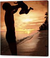 Silhouette Family Of Child Hold On Father Hand Canvas Print